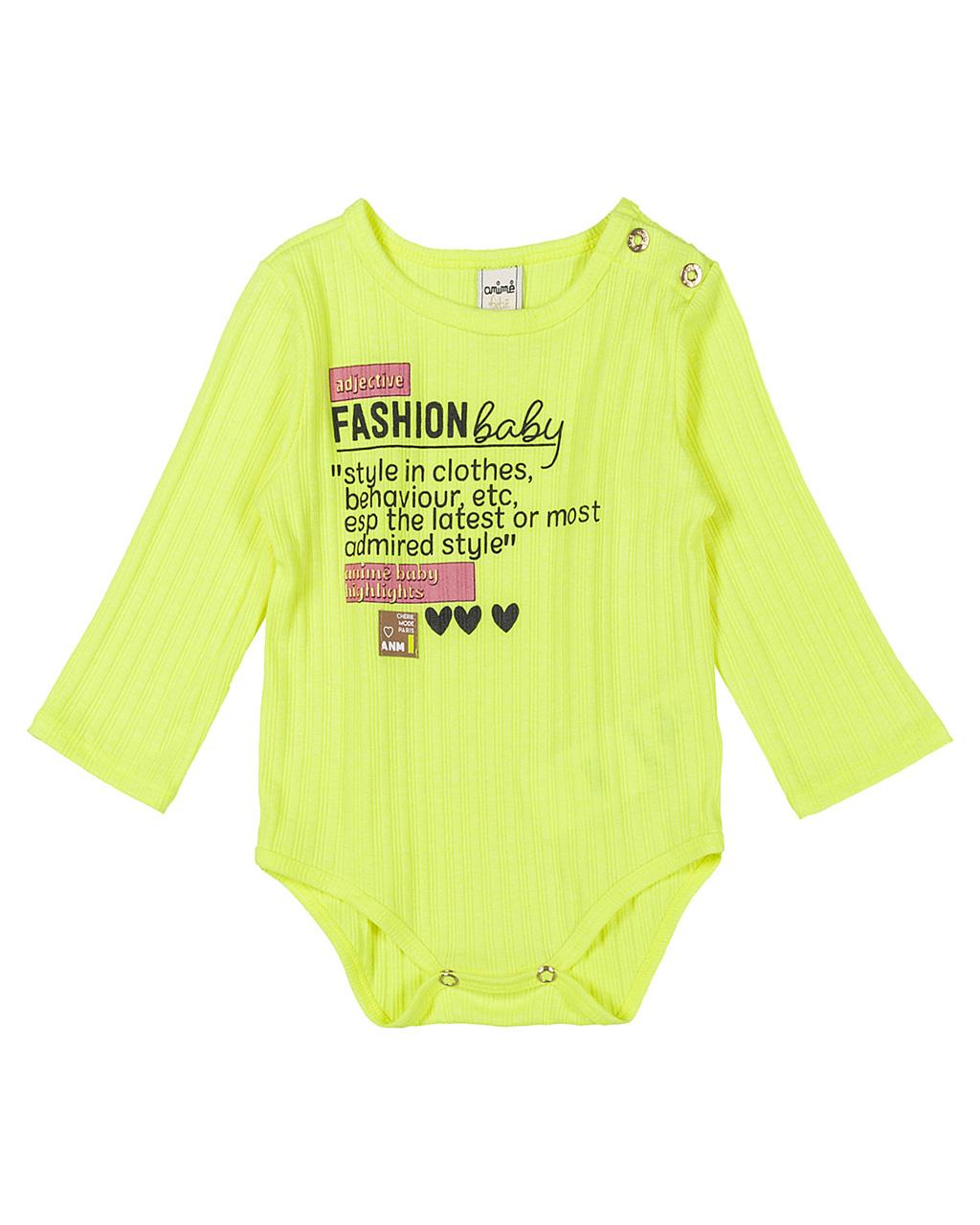 Body Infantil Fashion Baby Manga Longa Amarelo Neon Animê