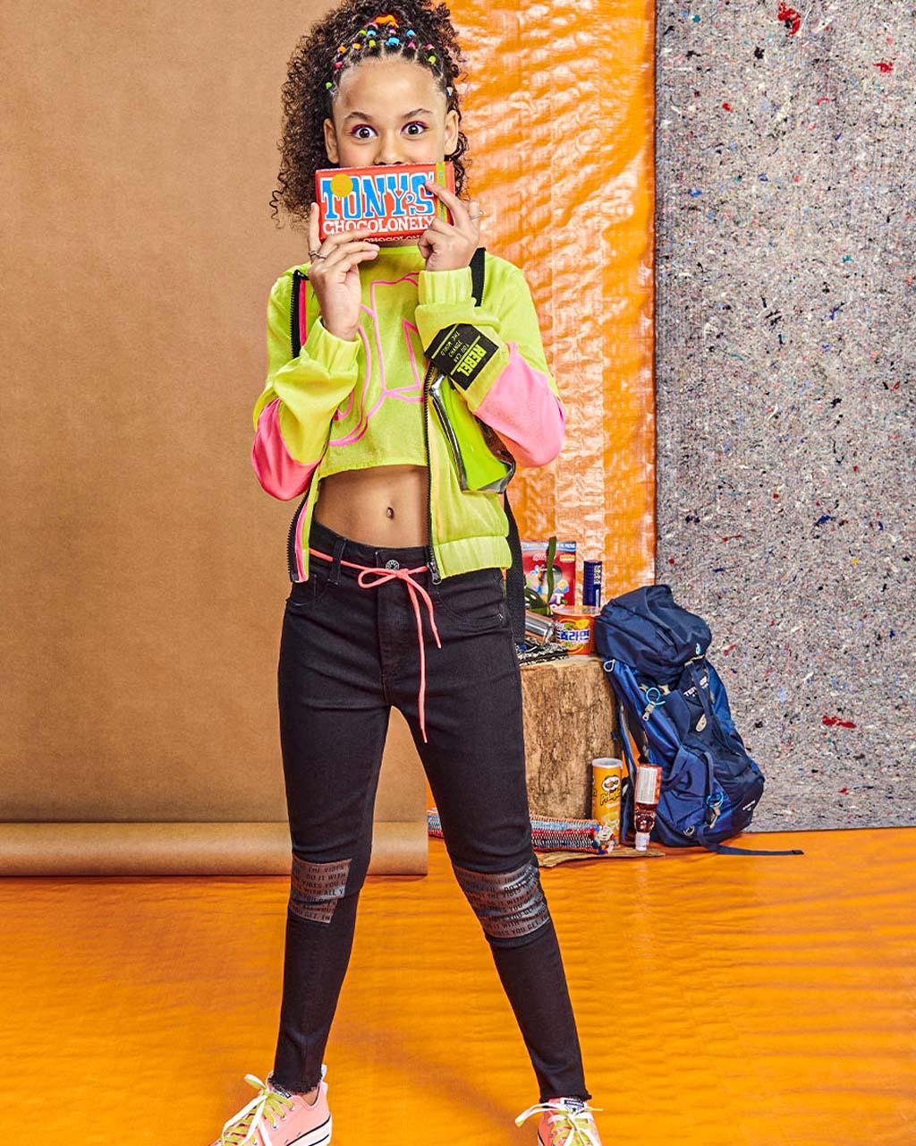Bomber Teen Organza com Capuz Verde Neon I Am