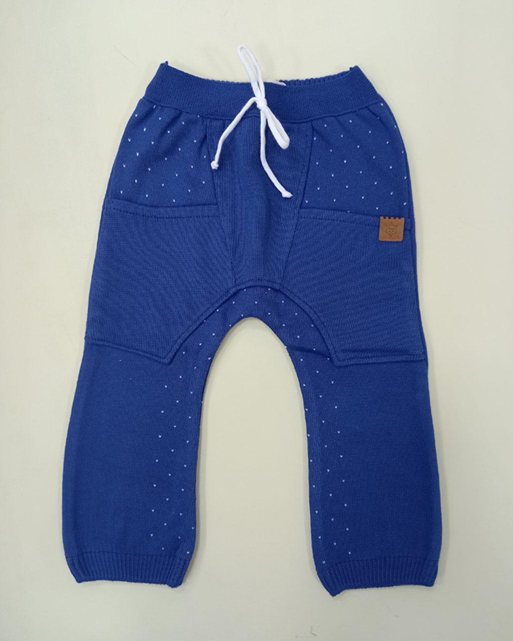 Calça Baby Tricô Linha com Bolsos Azul Mini Lord