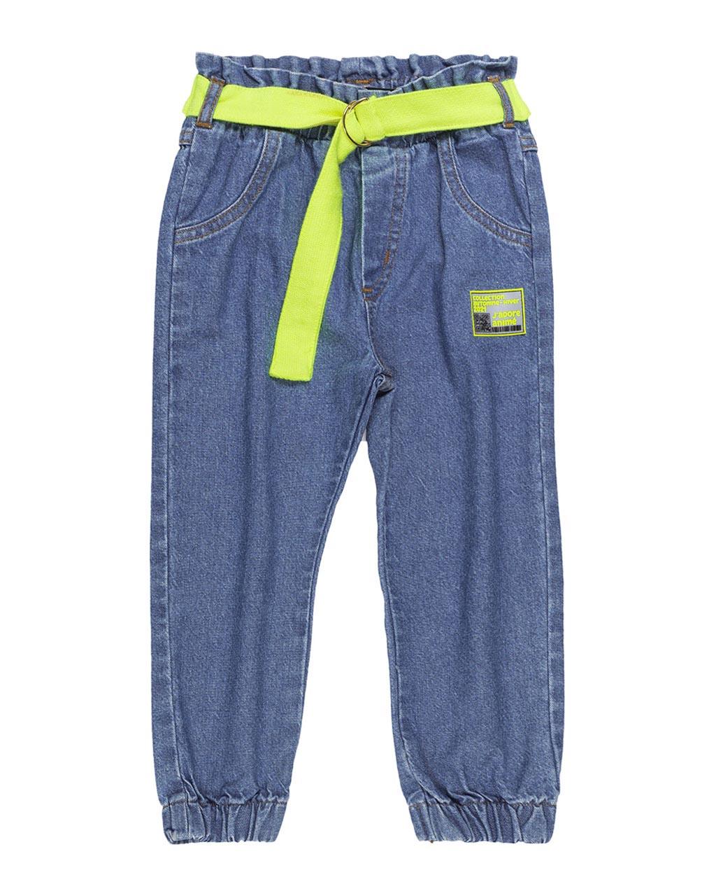 Calça Infantil Jeans com Cinto Amarelo Neon Animê