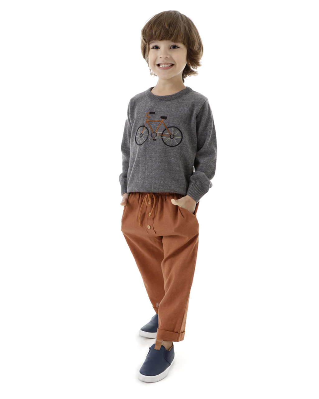 Calça Infantil Masculina Linho Cós de Elástico Mini Lord