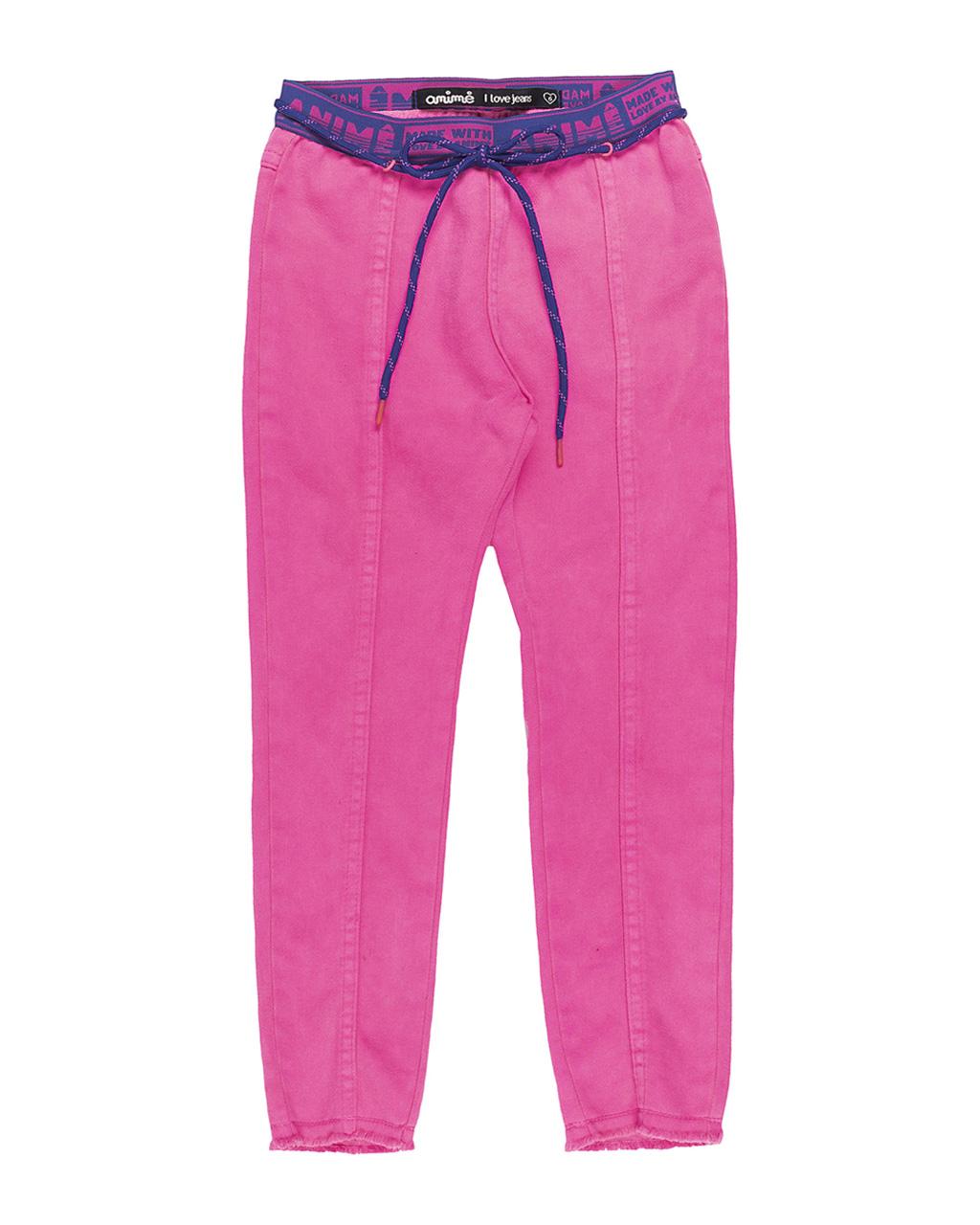 Calça Infantil Sarja Cinto de Cadarço Rosa Neon Animê