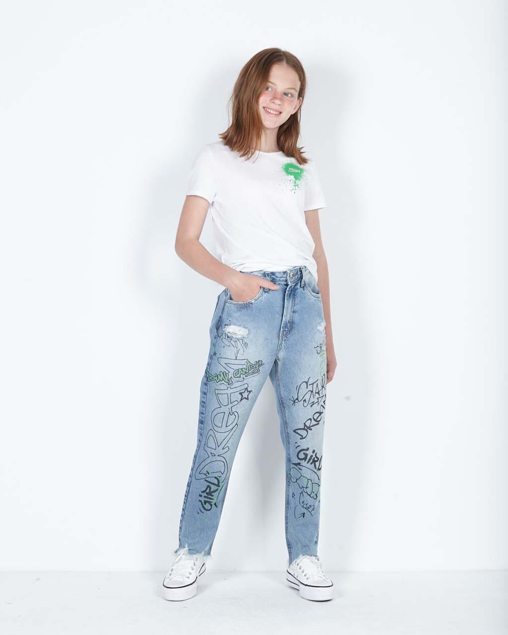 Calça Teen Jeans Mom Arte Grafite nas Pernas Dimy Candy