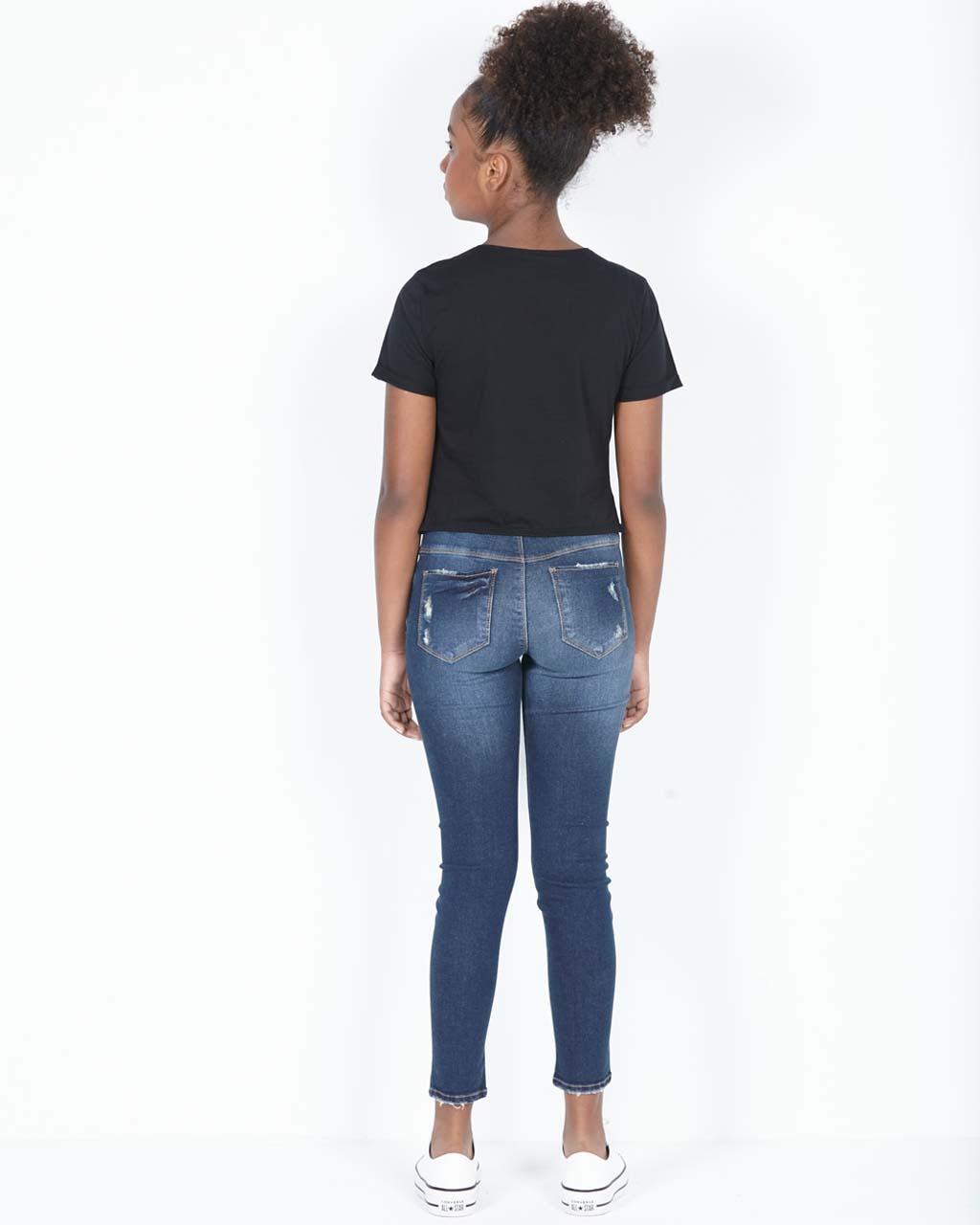 Calça Teen Jeans Super Skinny Destroyed com Botões Dimy Candy