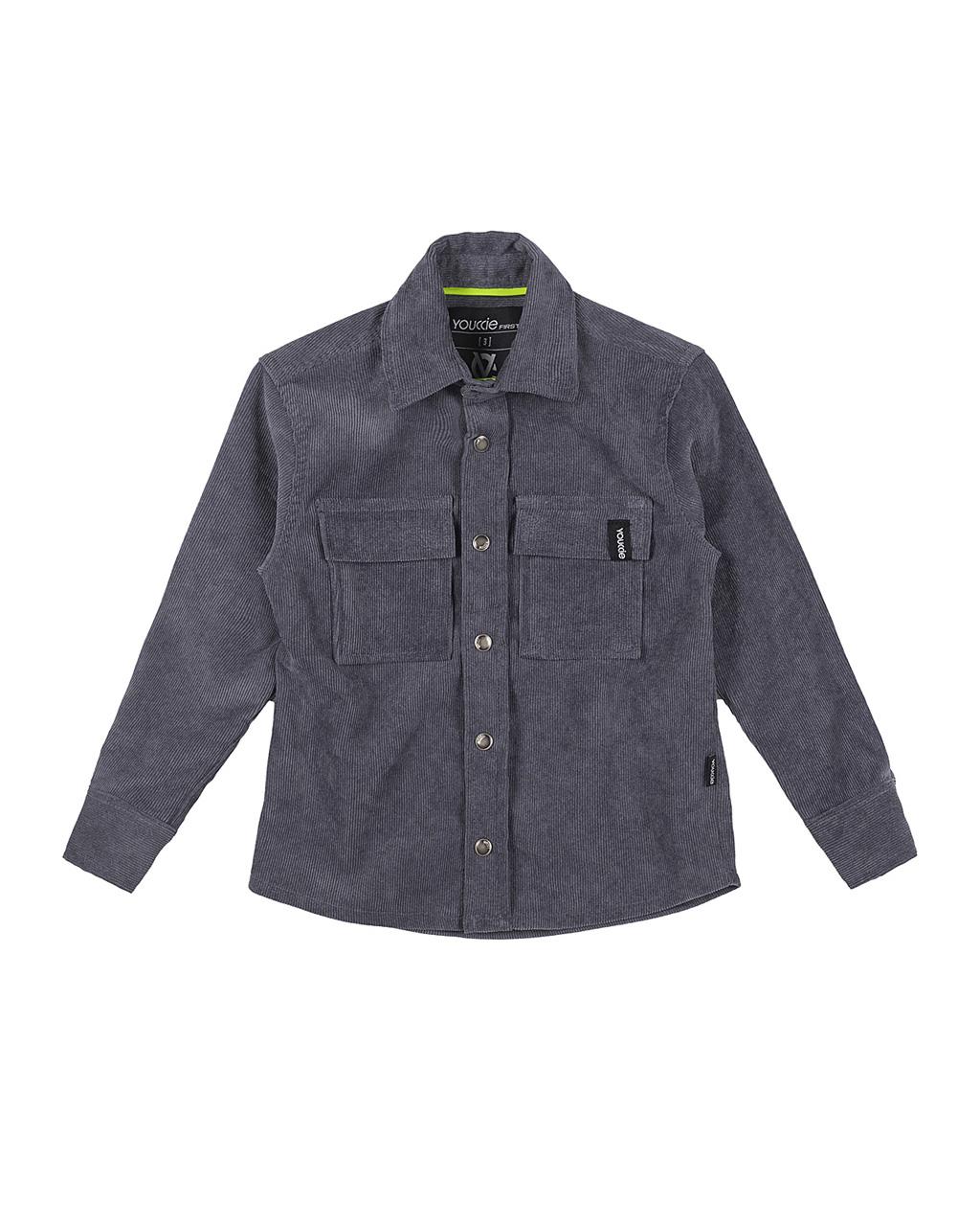Camisa First Veludo Cotelê Cinza Youccie