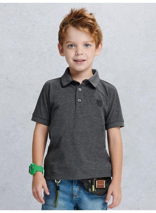 Camisa Infantil Manga Curta  Polo Cinza Escuro Youccie