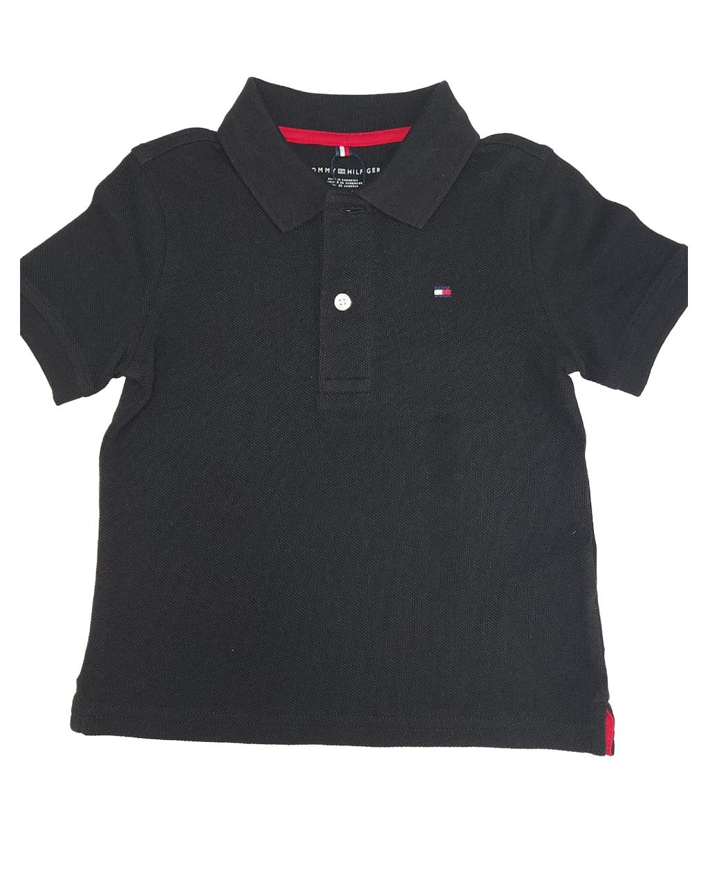 Camisa Polo Infantil Preta Gola Tommy Hilfiger