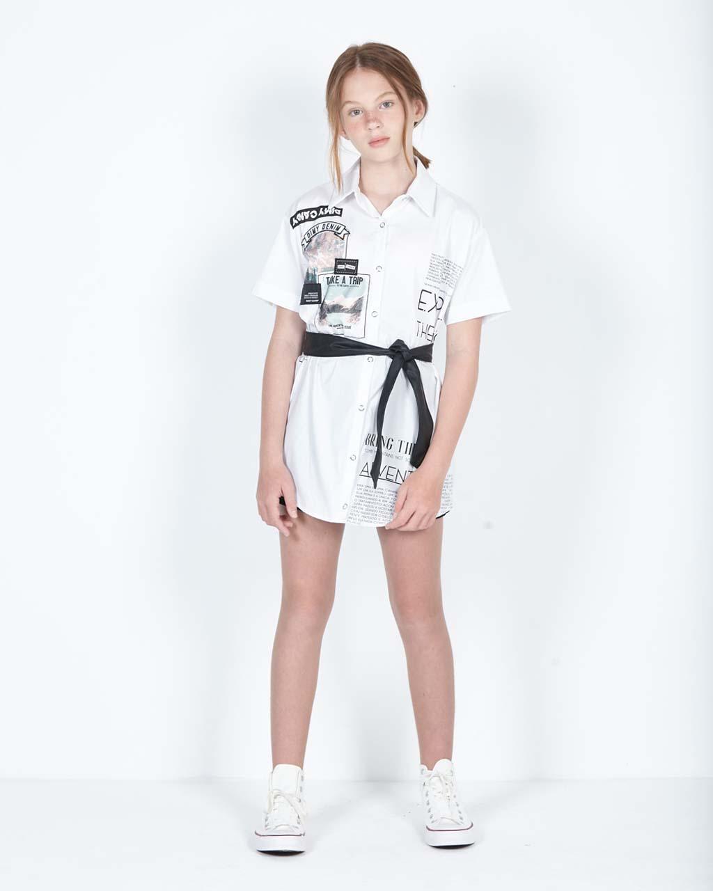 Camisa Teen Feminina Estampas Off com Cinto Couro Sintético Preto Dimy Candy