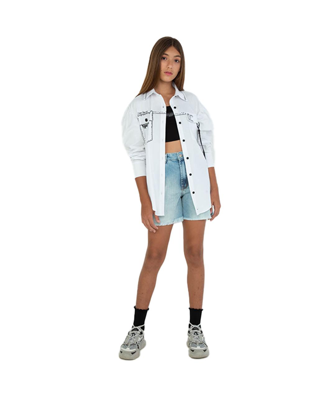 Camisa Teen Mullet com Detalhe de Chaveiro Off White Dimy Candy