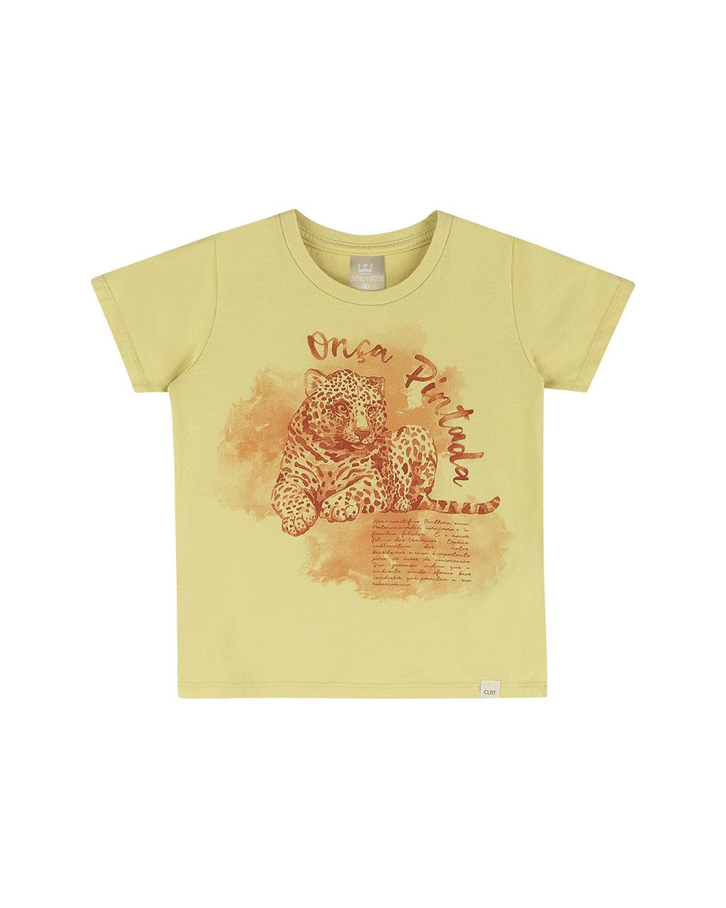 Camiseta Infantil Amarela Onça Pintada Colorittá
