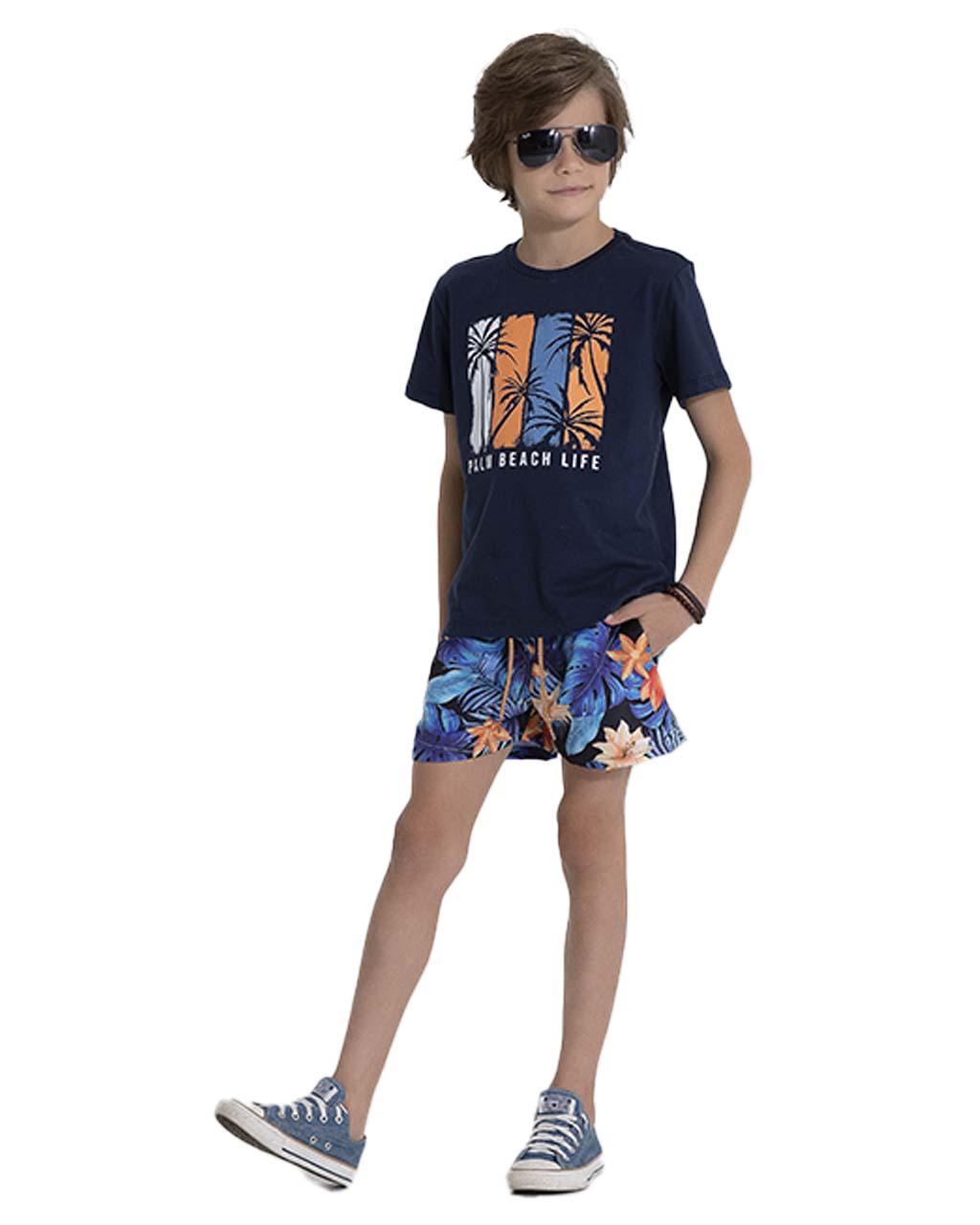 Camiseta Infantil Azul Marinho Pega Mania