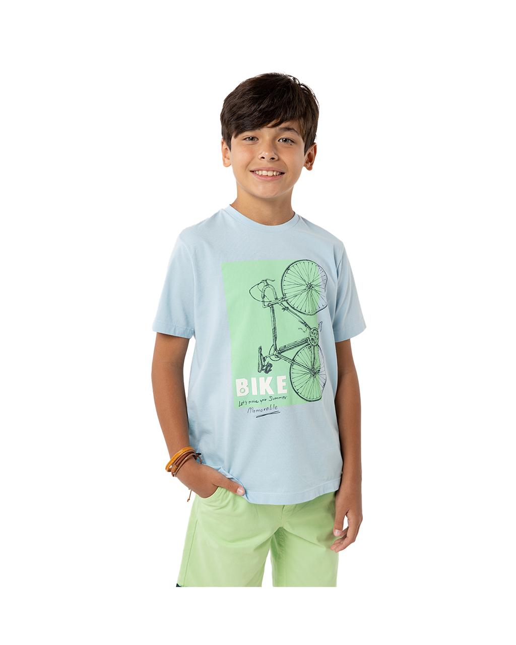 Camiseta Infantil Bicicleta Azul Um Mais Um