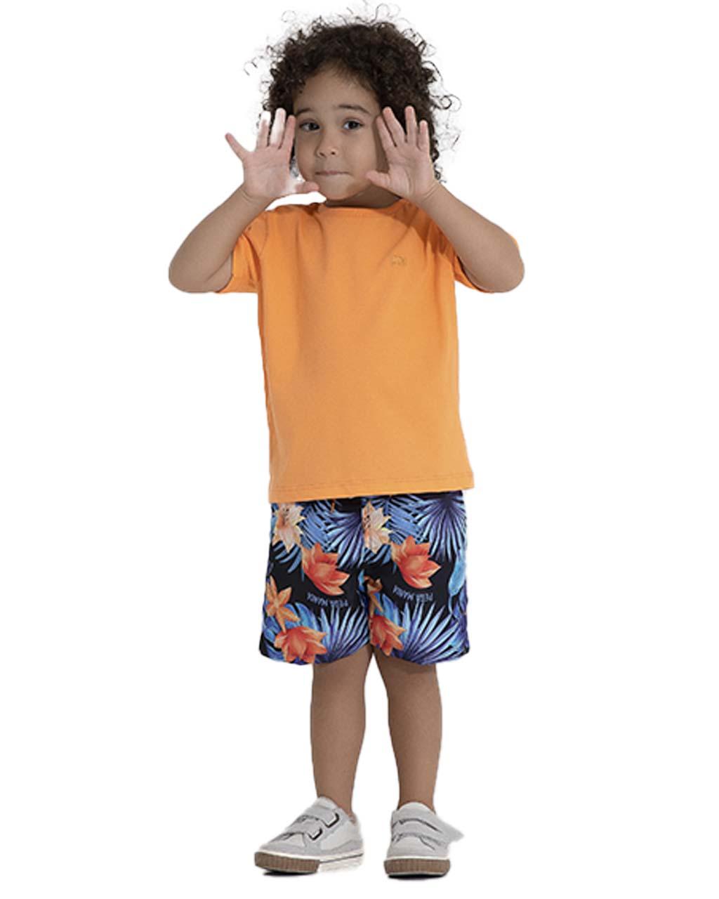Camiseta Infantil Laranja Pega Mania