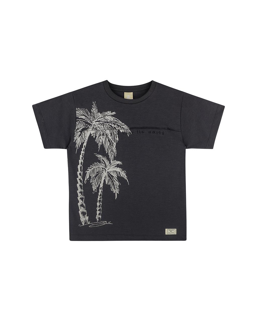 Camiseta Masculina Infantil Cinza Escuro Estampa Coqueiro Colorittá