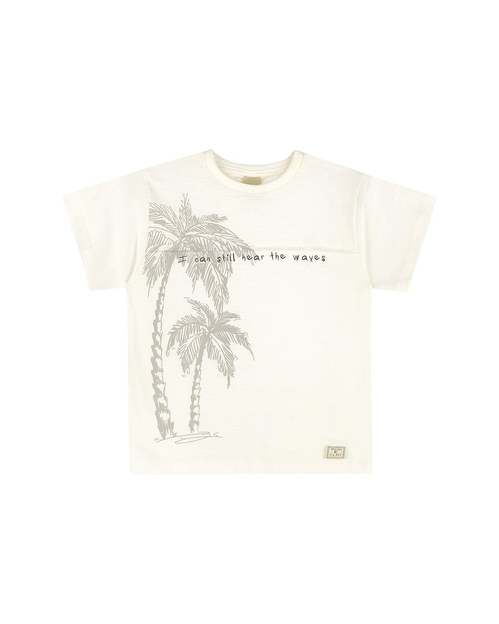 Camiseta Masculina Infantil Off White Estampa Coqueiro Colorittá