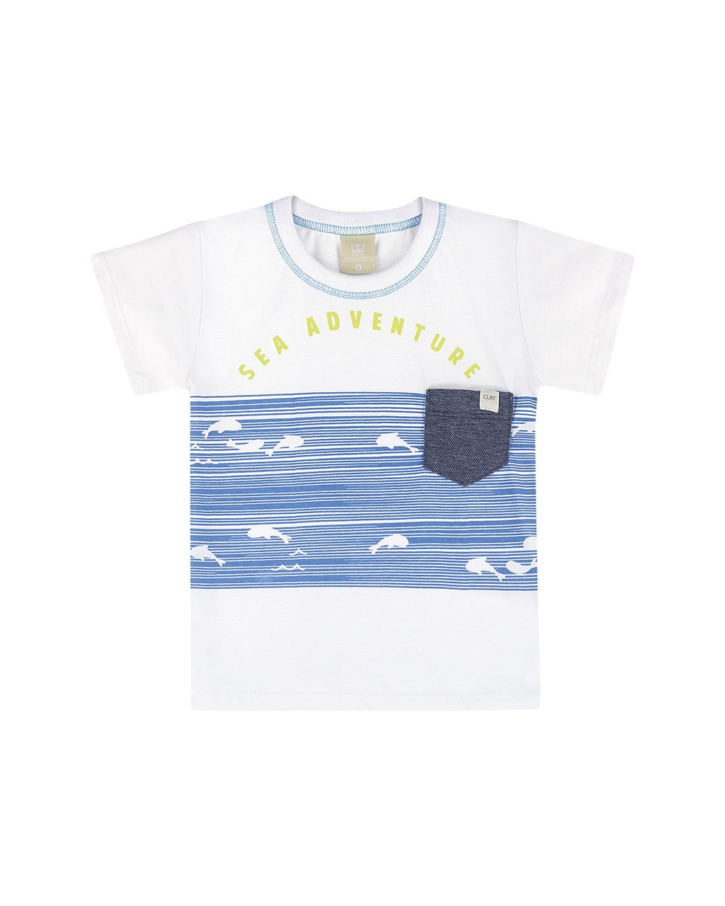 Camiseta Masculina Infantil Off White Peixinho Colorittá