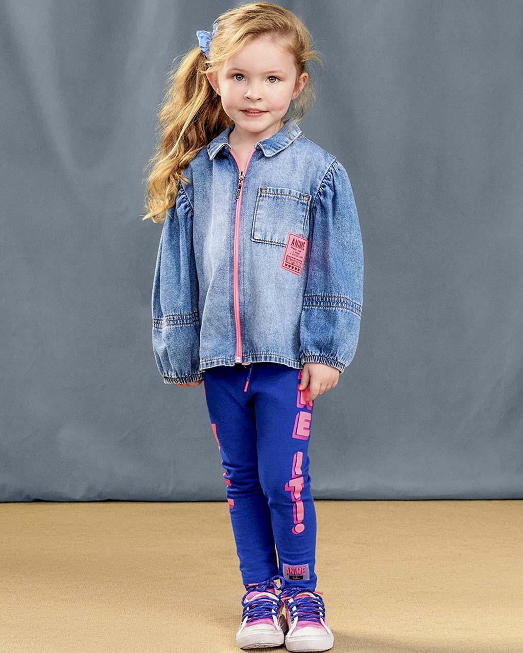 Camisete Infantil Jeans com Zíper Rosa Neon e Mangas Bufantes Animê