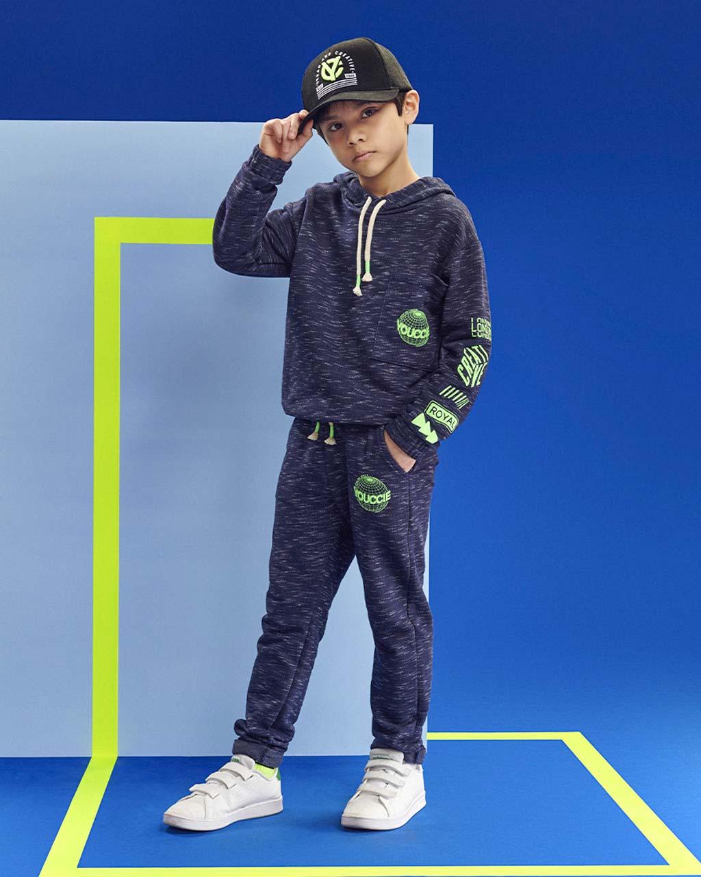 Casaco Infantil Moletom Razado Detalhe Neon Youccie
