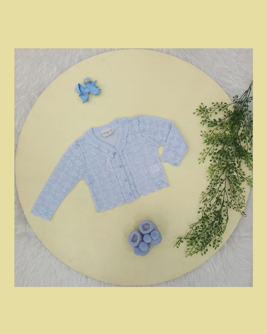 Casaquinho Infantil Feminino Tricô Trabalhado Azul Bebê Noruega