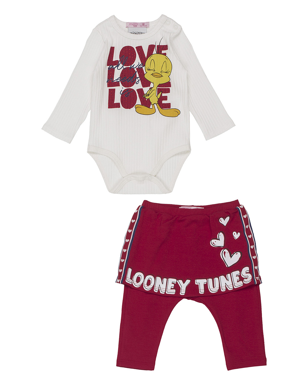 Conjunto Baby Body Canelado Piu Piu E Saia Legging Looney Tunes Momi