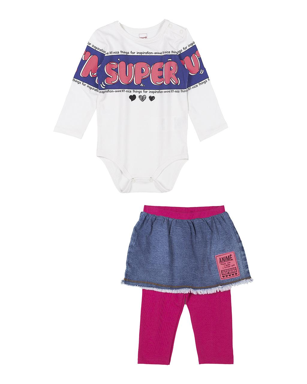 Conjunto Baby Body Cotton Off White e Saia Jeans Com Legging Pink Animê