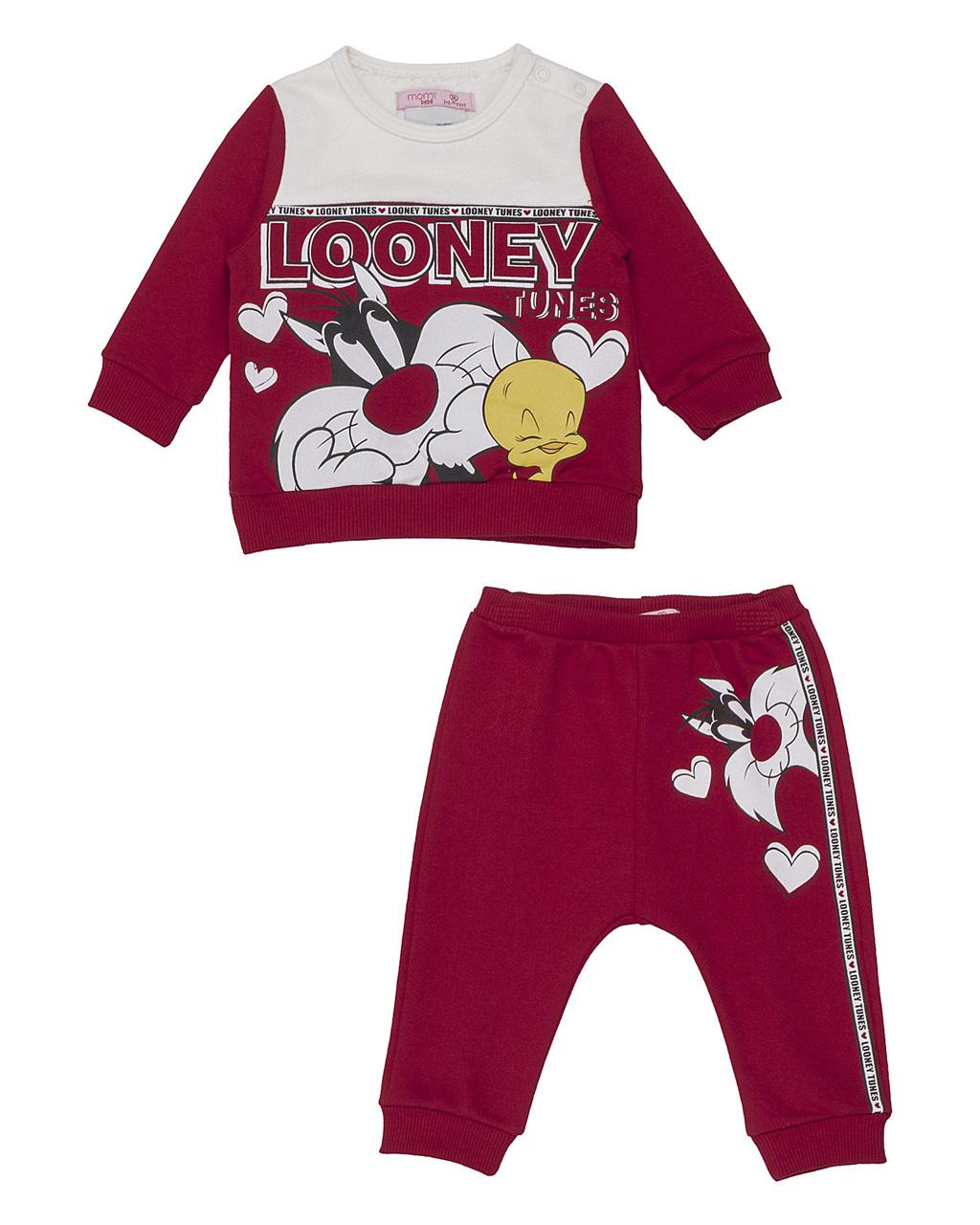 Conjunto Baby Casaco Looney Tunes Vermelho E Calça Moletom Vermelha Momi