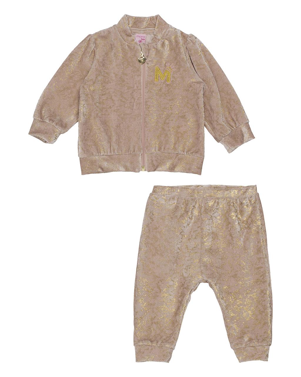 Conjunto Baby Jaqueta Plush Brilho Dourado E Calça Plush Brilho Dourado Momi