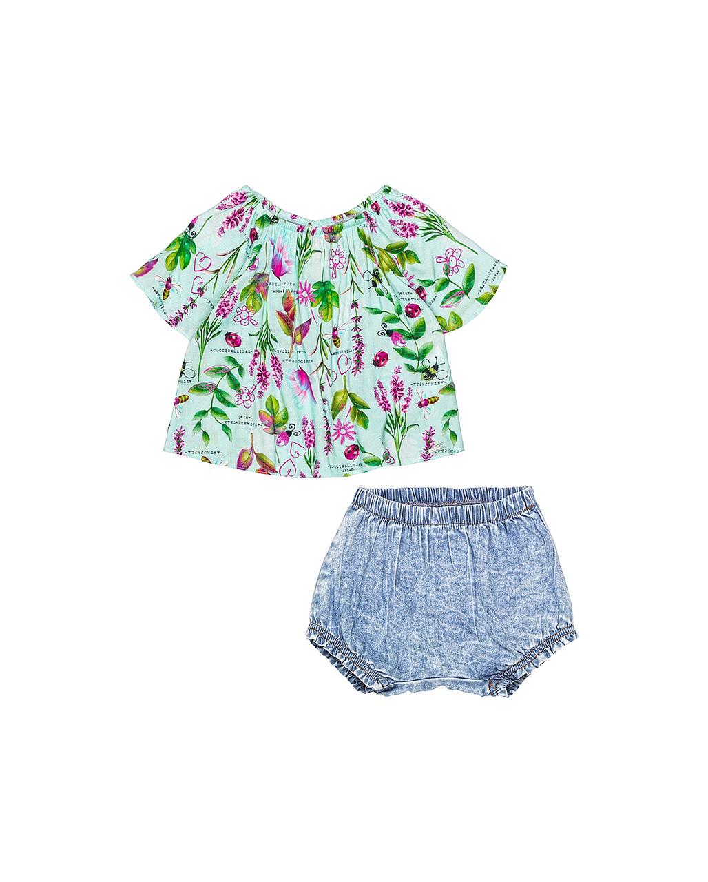 Conjunto Bebê Bata Floral e Shorts Jeans Animê