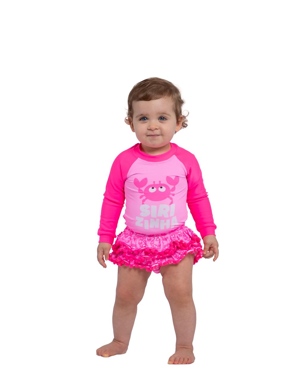 Biquíni Bebê Blusa Manga Longa Calcinha com Babado Proteção Solar Rosa Siri