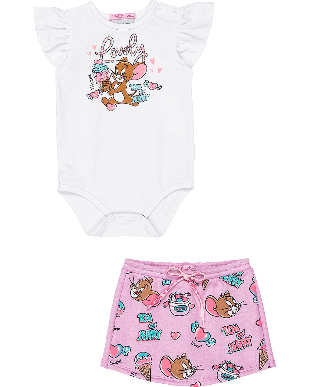 Conjunto Bebê Body e Short Tom and Jerry Off White Momi