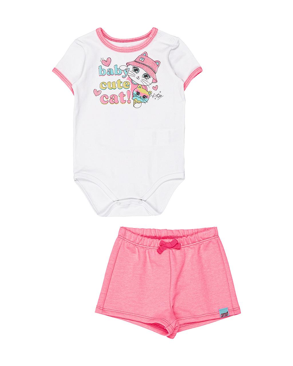 Conjunto Bebê Body e Shorts Baby Cute Cat Momi