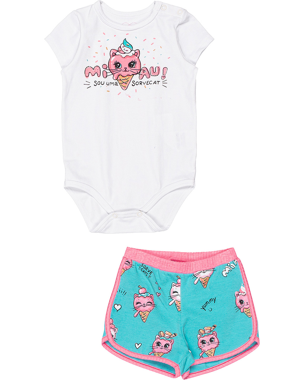 Conjunto Bebê Body e Shorts Gatinho Momi