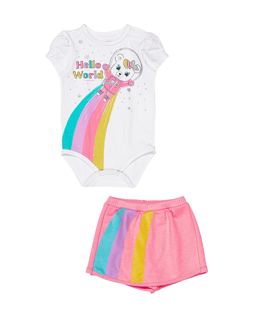 Conjunto Bebê Body e Shorts Hello World Momi