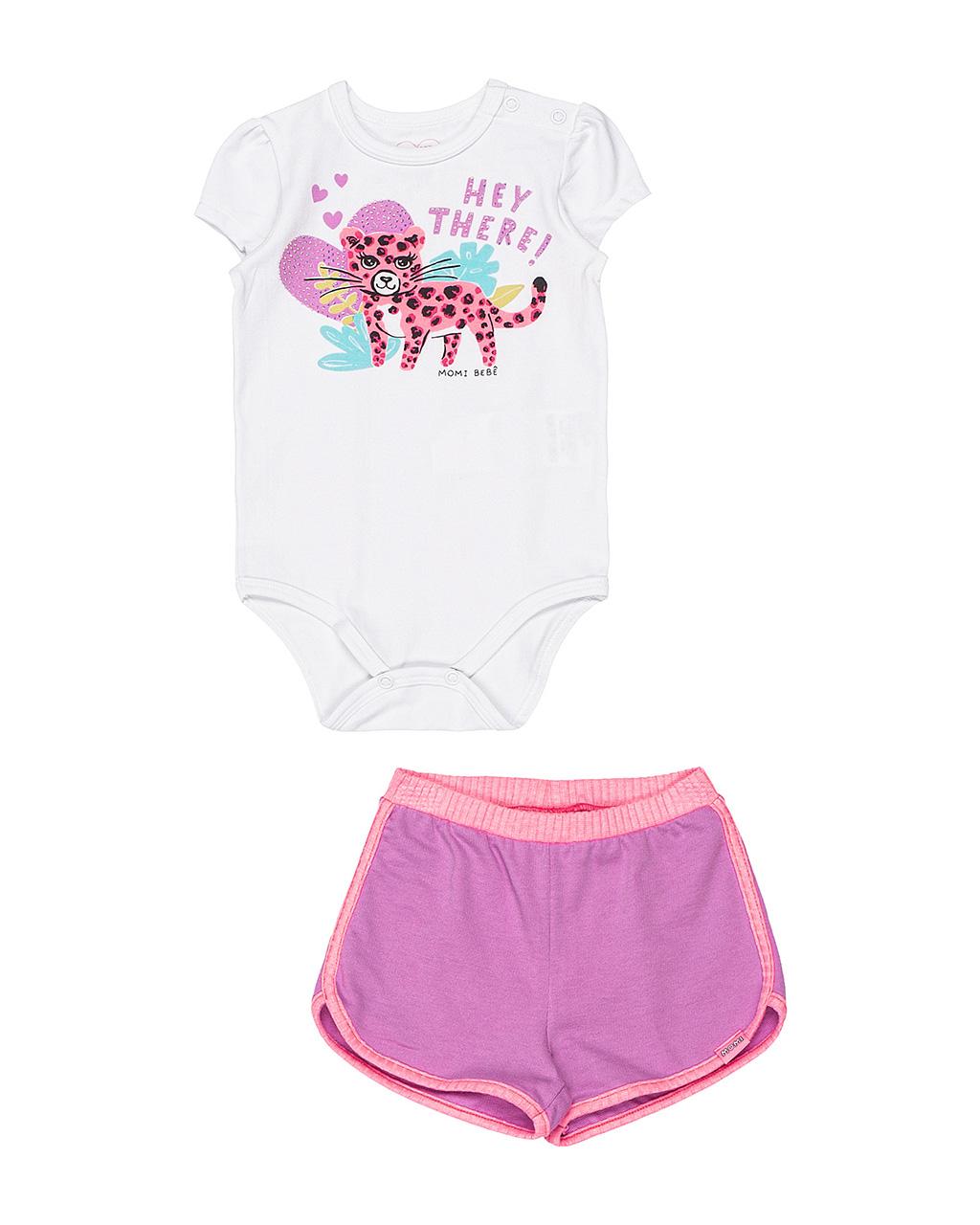 Conjunto Bebê Body e Shorts Hey There Momi