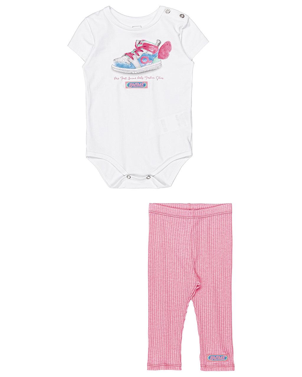 Conjunto Bebê Body Manda Curta e Legging Animê