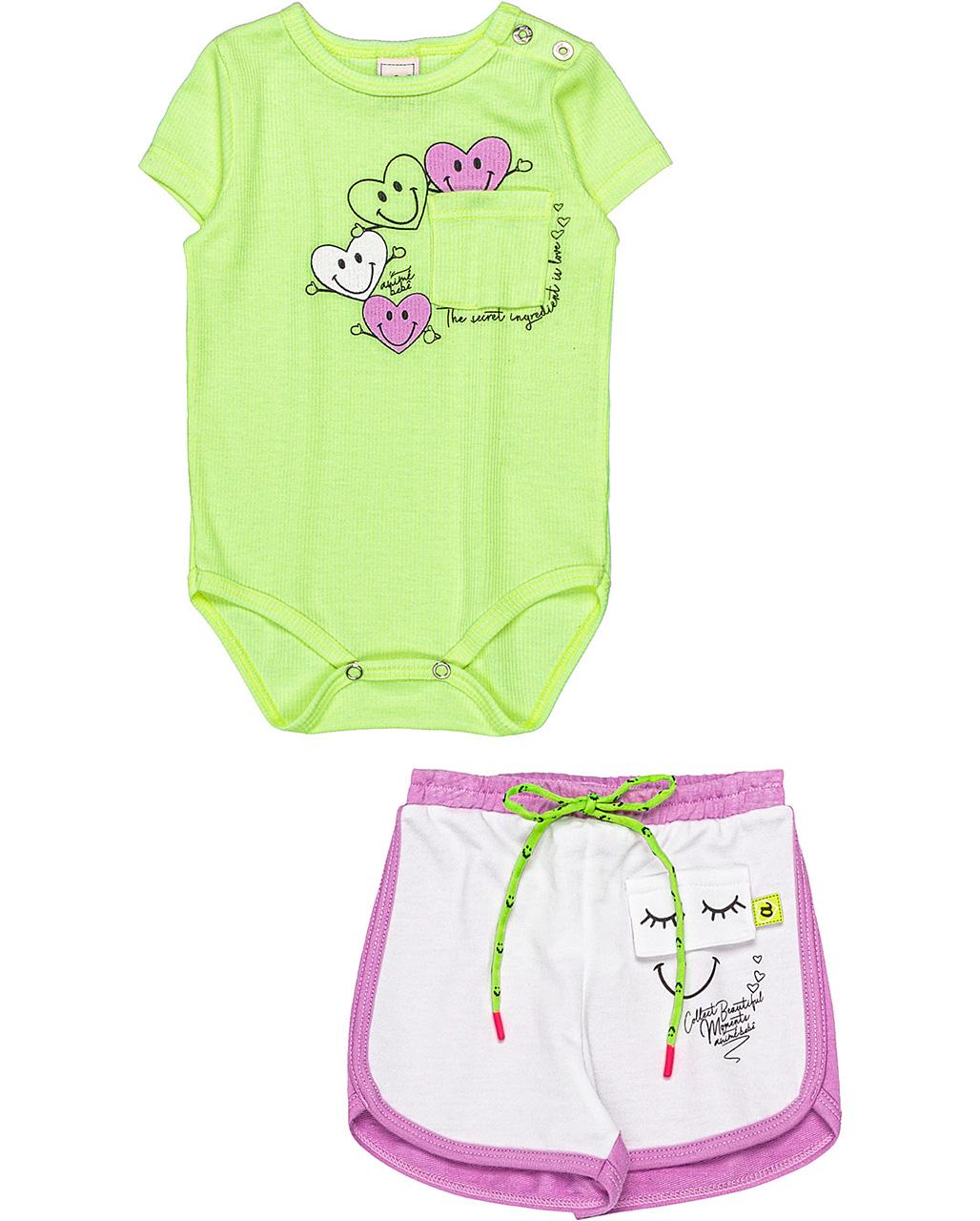 Conjunto Bebê Body Neon e Shorts Animê