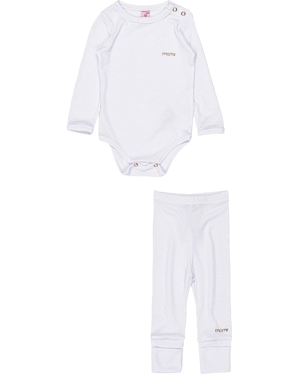 Conjunto Bebê Canelado Body Manga Longa e Calça Off White Momi