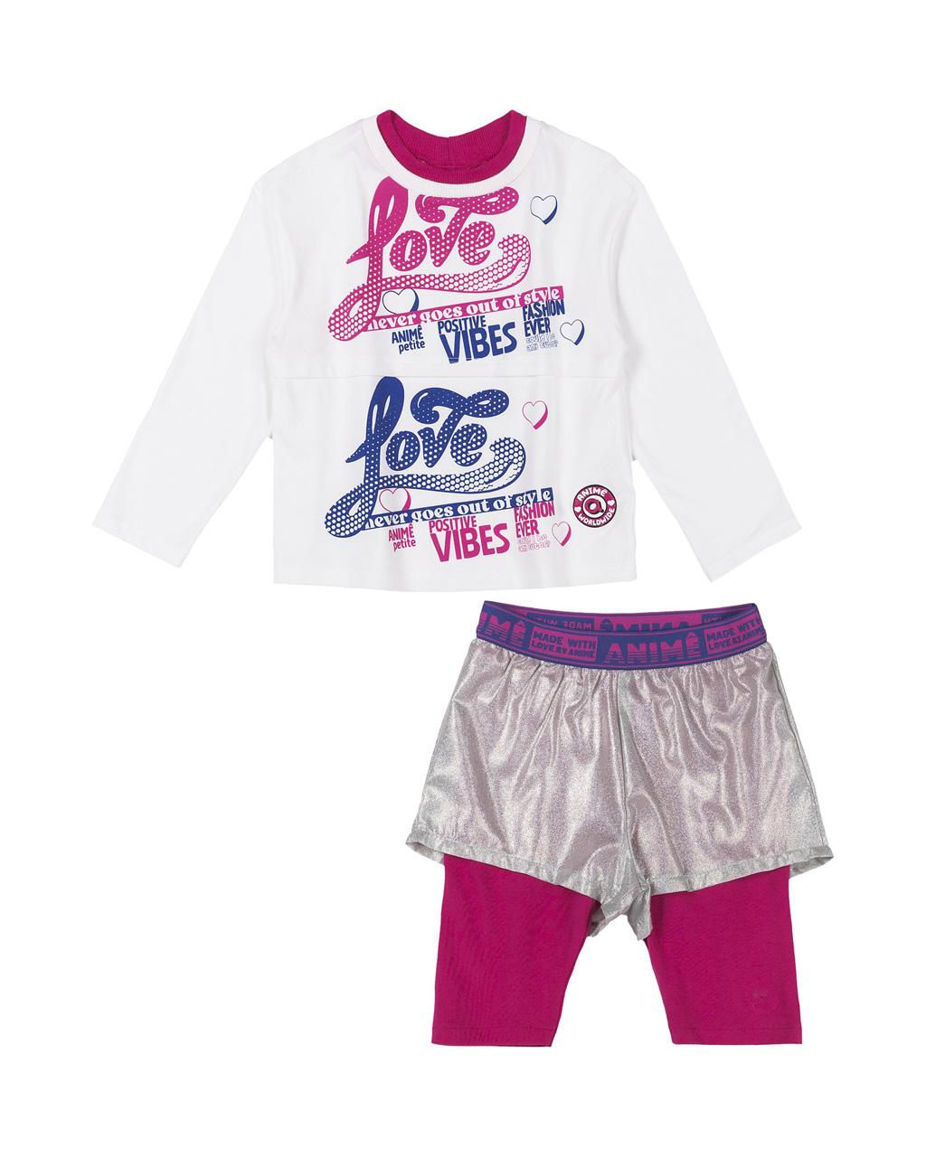 Conjunto Blusa Cotton Off Com Arte e Shorts Tecido Holografico E Legging Catton Animê