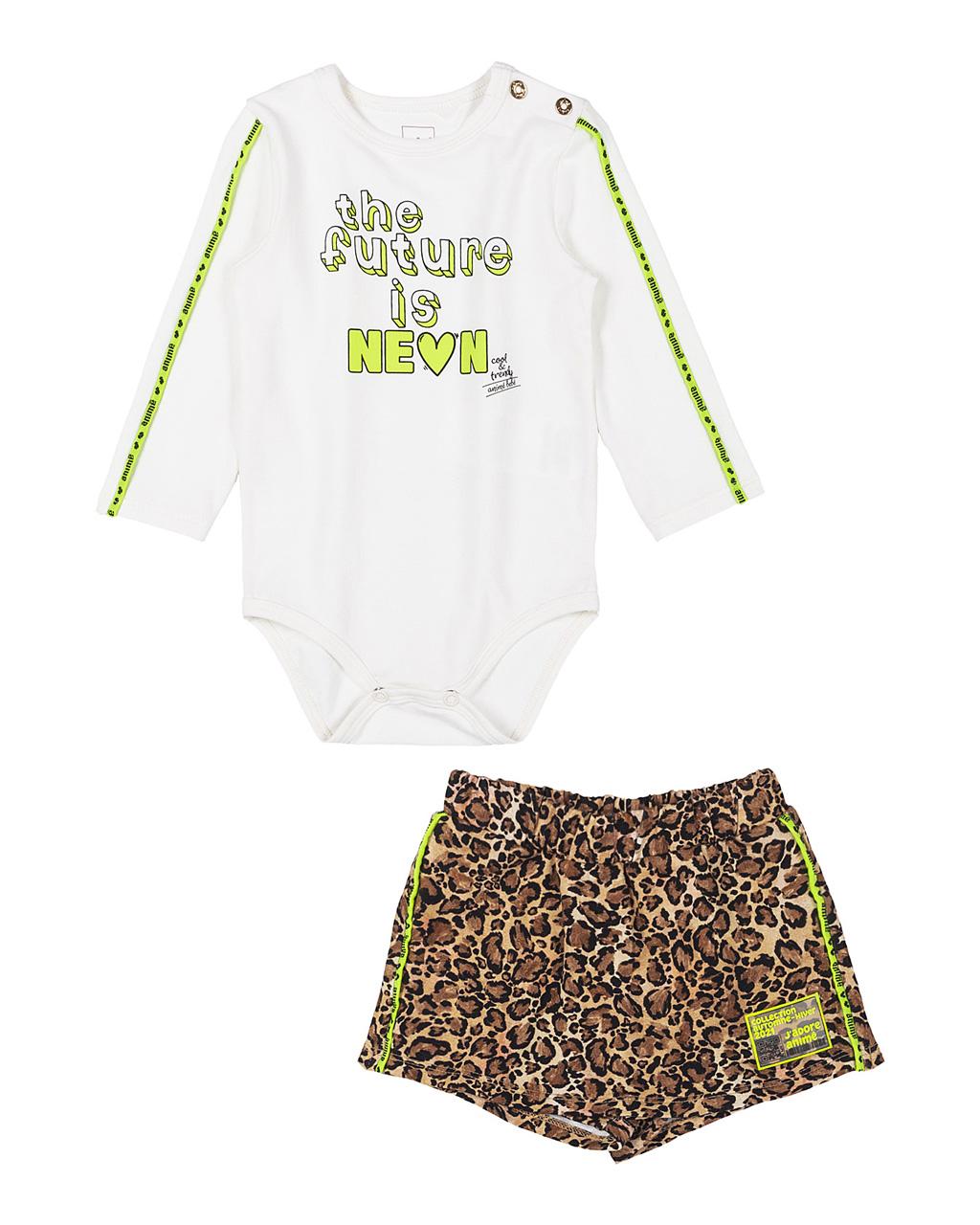 Conjunto Body Cotton Off White Neon e Shorts Saia Oncinha Animê