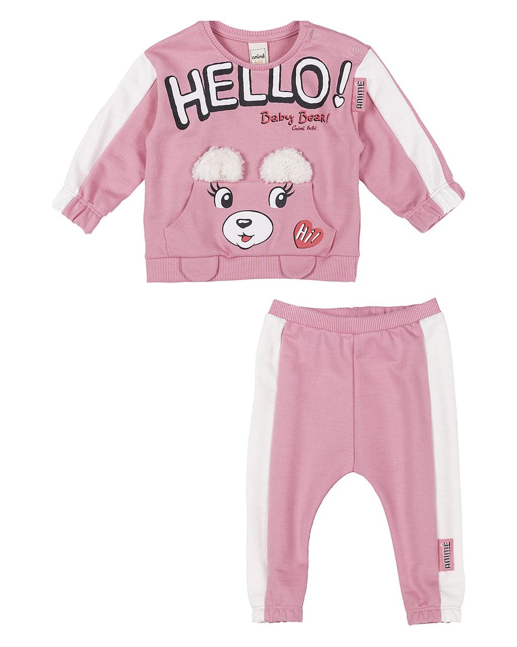 Conjunto Casaco Moleton Rosa e Calça Moleton Rosa Animê
