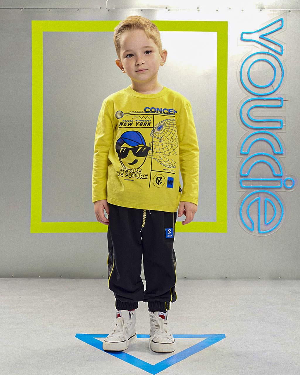 Conjunto First Camiseta Amarela Concept E Calçca Moletom Preta Detalhes Corta Vento Youccie
