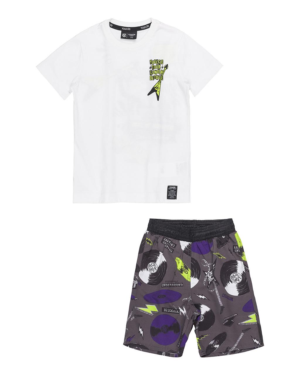 Conjunto First Camiseta Off e Bermuda Tactel Discos Youccie
