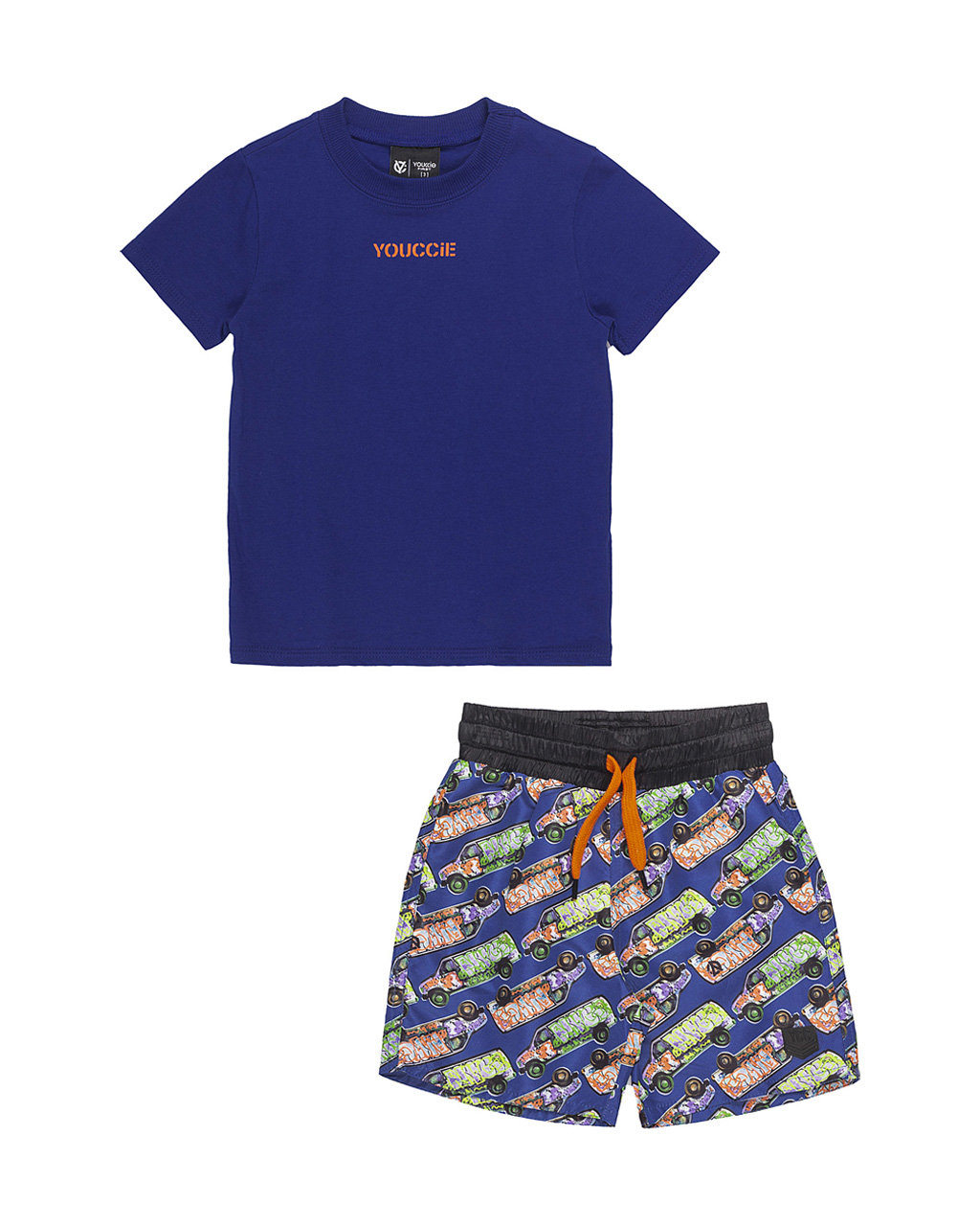 Conjunto First Camiseta Royal e Bermuda Tactel Carros Youccie