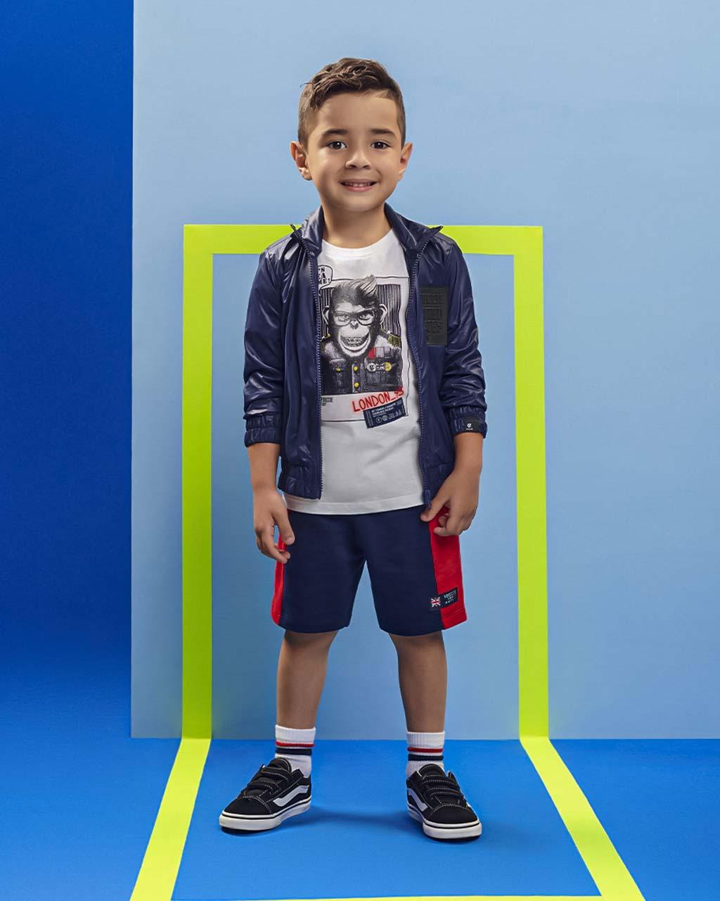 Conjunto First T-Shirt Macaco com Shorts Moletom Marinho e Vermelho Youccie