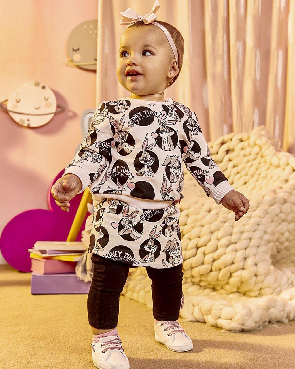 Conjunto Infantil Baby Blusa Moletom com Saia Legging Poá Licenciado Animê
