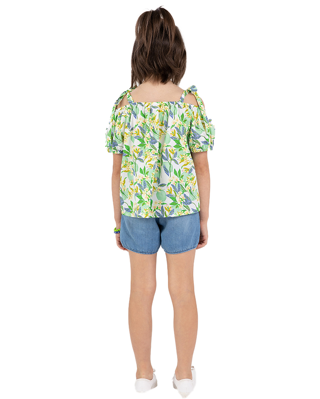 Conjunto infantil Bata e Shorts Floral Verde Beaba
