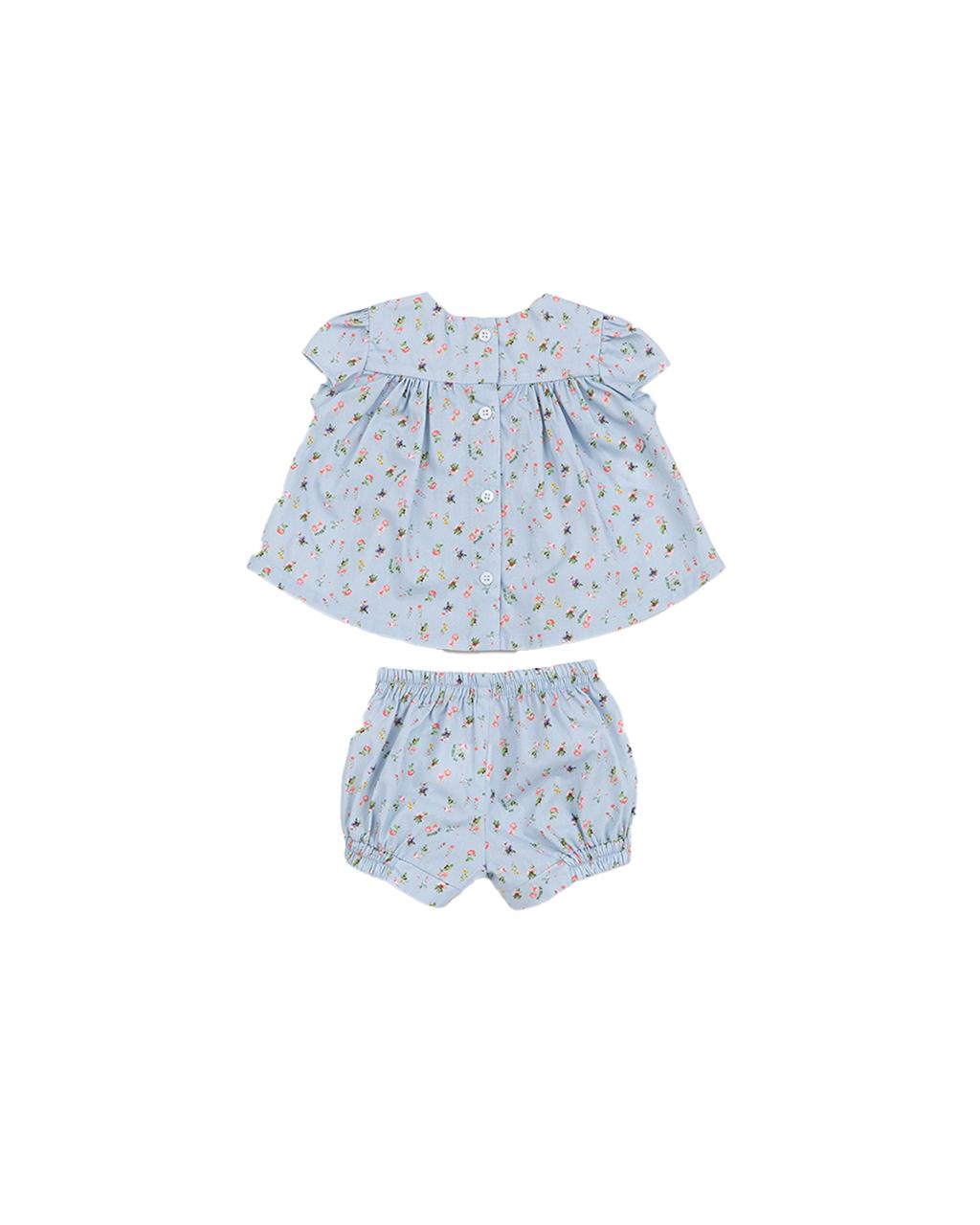 Conjunto Infantil Bata e Shorts Florzinha Azul Um Mais Um