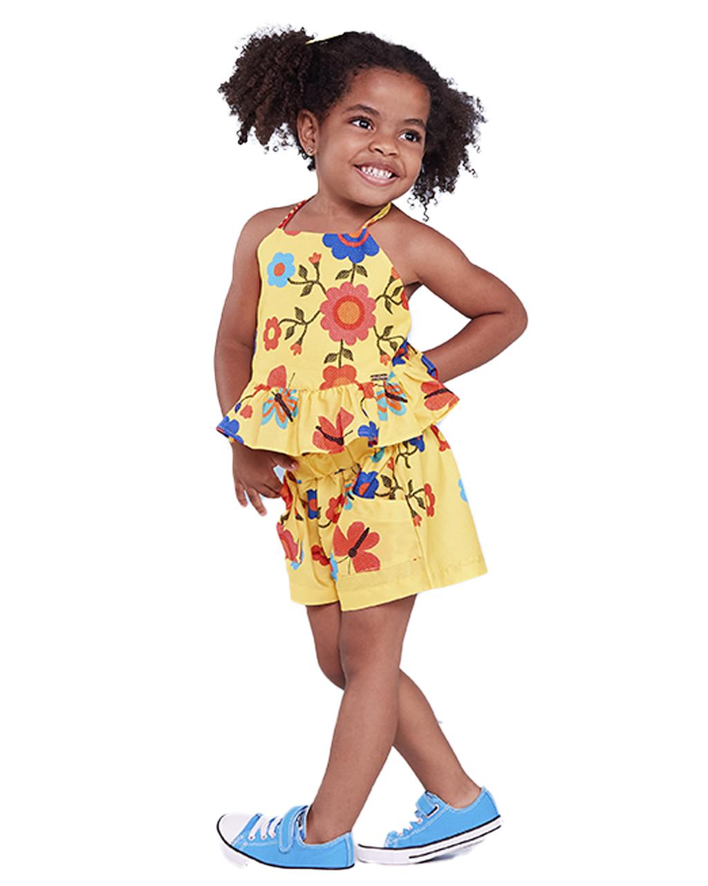 Conjunto Infantil Blusa Amarração e Shorts com Bolsos Floral Precoce