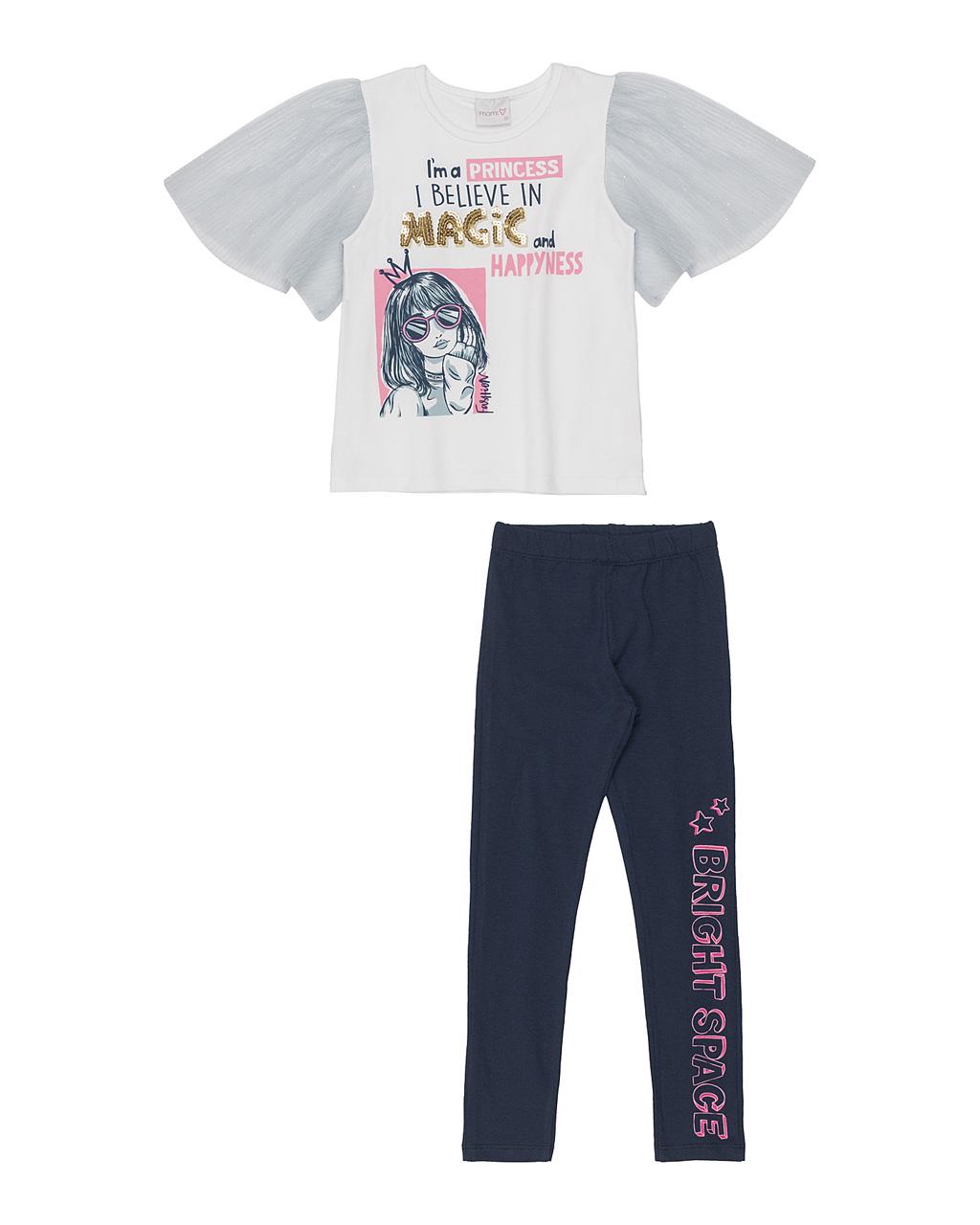 Conjunto Infantil Blusa Arte E Manga Tule E Legging Azul  Momi