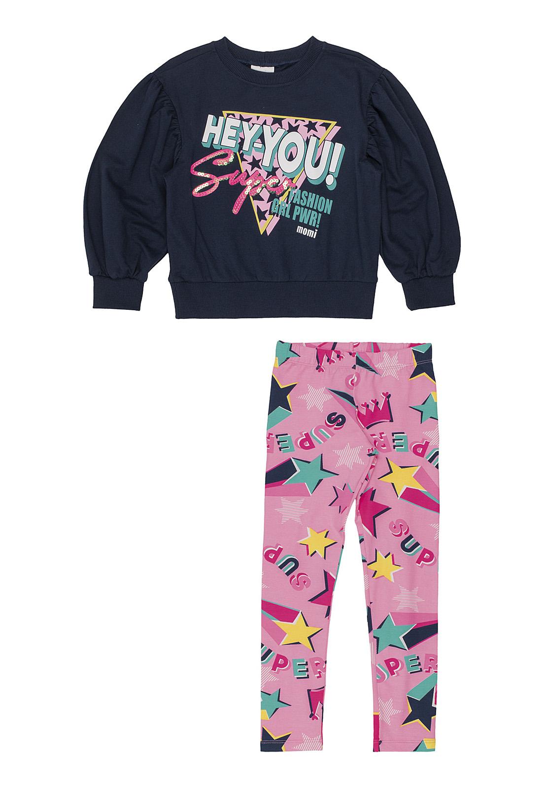 Conjunto Infantil Blusa Arte Hey You Azul Escuro E Calça Legging Rosa Neon com Estrelas Momi